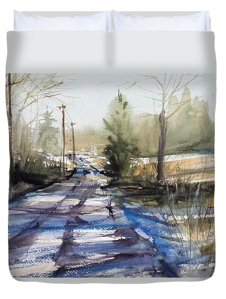 Winter Shadows  Duvet Cover by Judith Levins