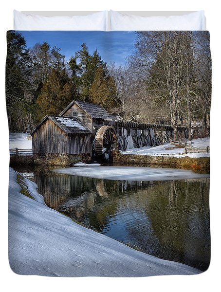 Winter Snow At Mabry Mill Duvet Cover