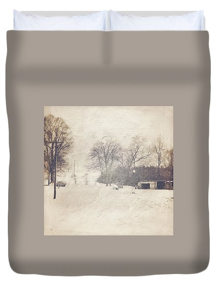 Winter Snow Storm At The Farm Duvet Cover