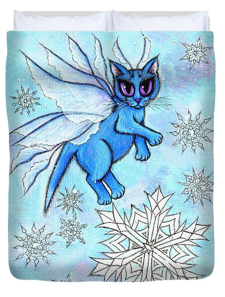 Duvet Cover featuring the painting Winter Snowflake Fairy Cat by Carrie Hawks