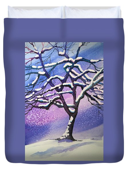 Winter Snowstorm Duvet Cover by Christine Camp