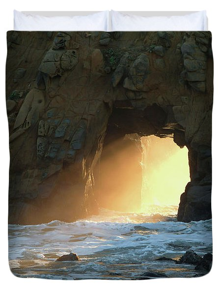 Winter Solstice Sunset In Big Sur Duvet Cover