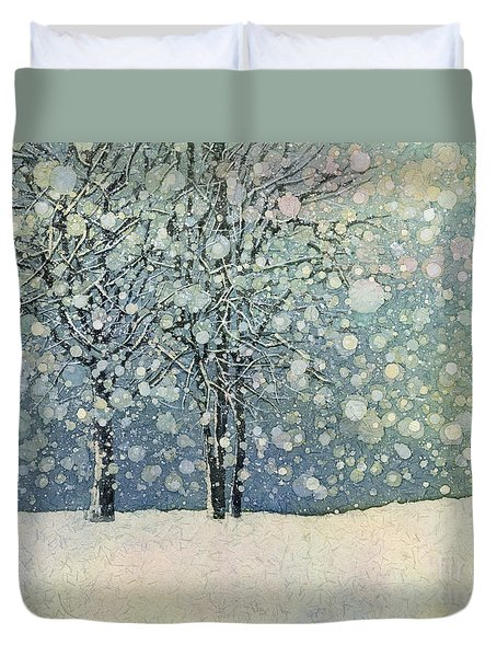 Duvet Cover featuring the painting Winter Sonnet by Hailey E Herrera