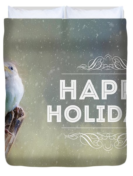 Winter Sparrow Holiday Card Duvet Cover