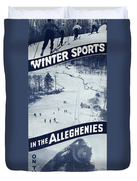 Winter Sports In The Alleghenies Duvet Cover