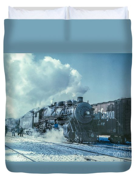 Winter Steam Train Duvet Cover by Randy Steele