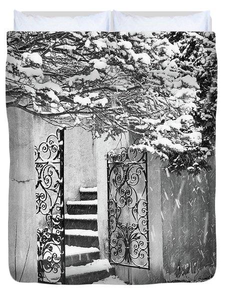 Winter Steps At The Vanderbilt In Centerport, Ny Duvet Cover