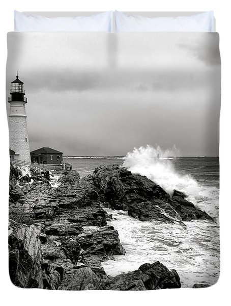 Winter Storm At Portland Head Duvet Cover