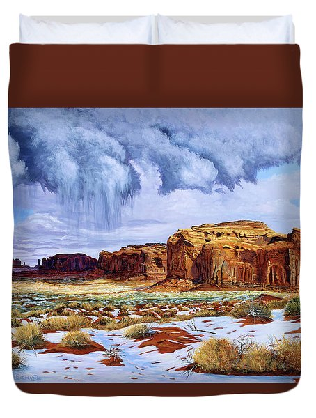 Winter Storm In Mystery Valley Duvet Cover