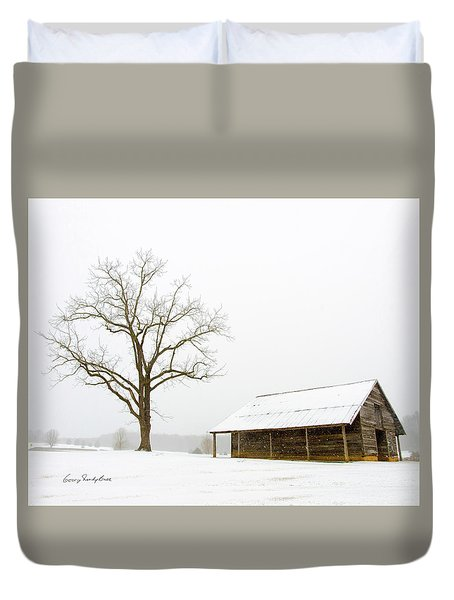 Duvet Cover featuring the photograph Winter Storm On The Farm by George Randy Bass