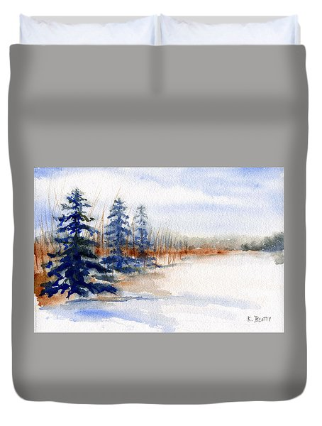 Winter Storm Watercolor Landscape Duvet Cover