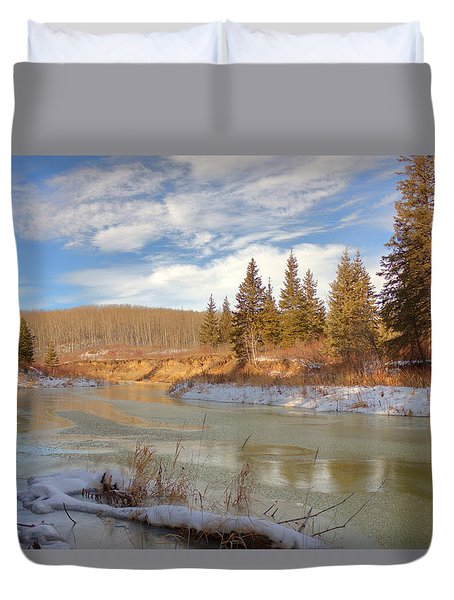 Duvet Cover featuring the photograph Winter Stream by Jim Sauchyn