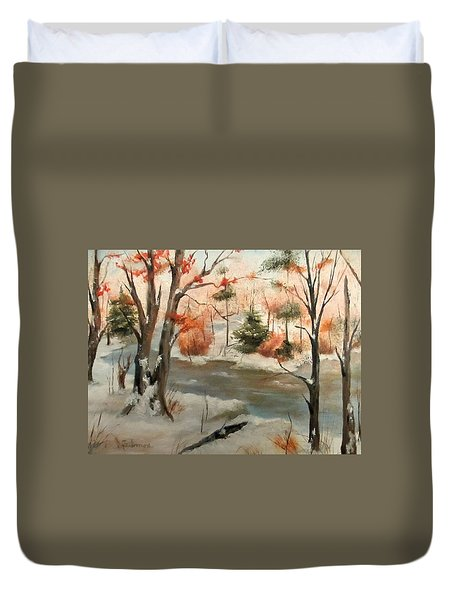 Duvet Cover featuring the painting Winter Stream by Roseann Gilmore