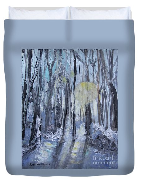 Duvet Cover featuring the painting Winter Sun by Robin Maria Pedrero