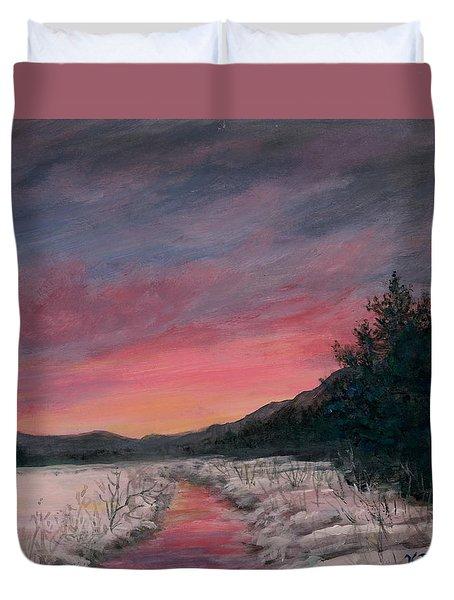 Duvet Cover featuring the painting Winter Sundown by Kathleen McDermott
