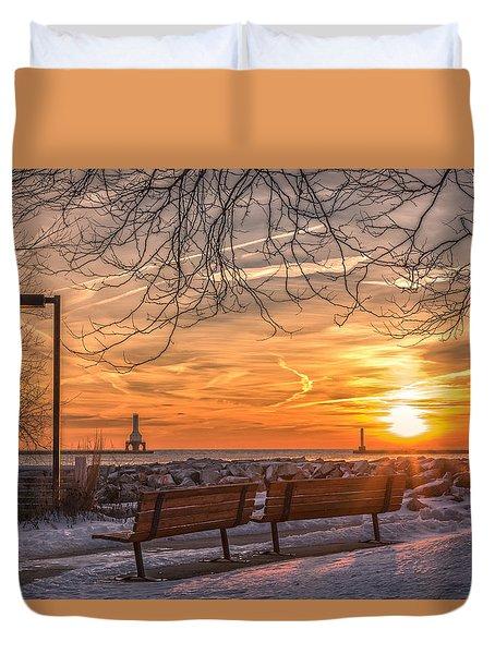 Winter Sunrise In The Park Duvet Cover
