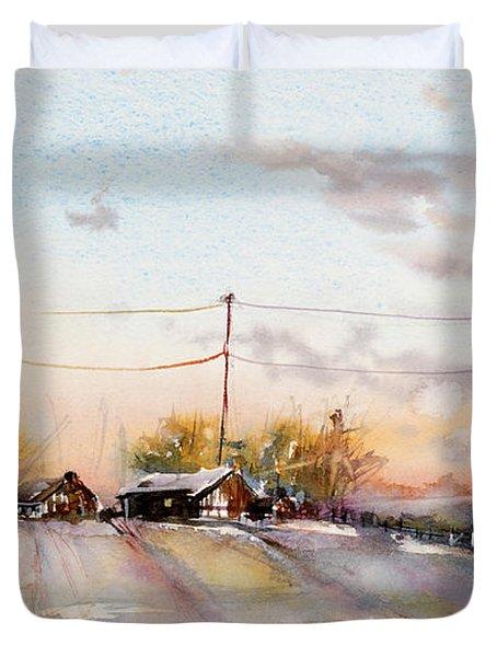 Winter Sunrise On The Lane Duvet Cover by Judith Levins