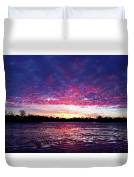 Winter Sunrise On The Wisconsin River Duvet Cover by Brook Burling