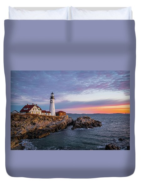 Winter Sunrise Over Portland Head Light Duvet Cover