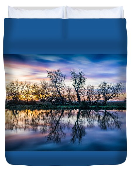 Duvet Cover featuring the photograph Winter Sunrise Over The Ouse by James Billings