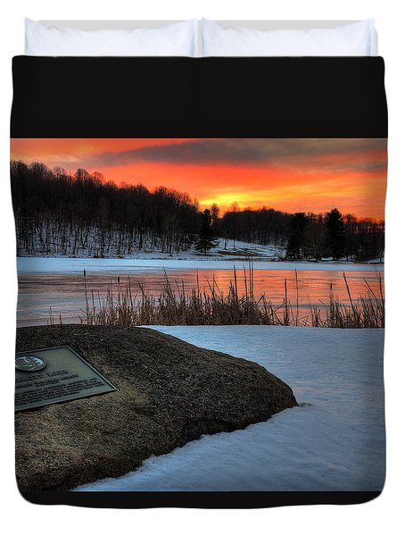 Winter Sunset Abbott Lake Duvet Cover