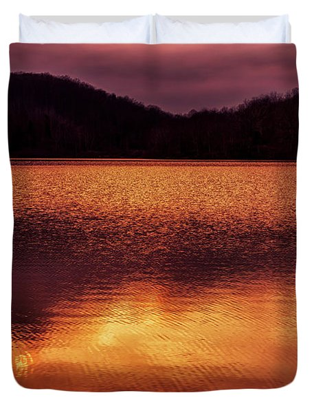 Winter Sunset Afterglow Reflection Duvet Cover