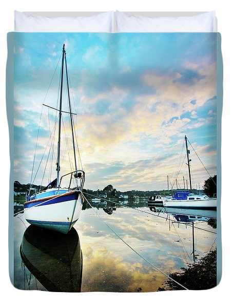 Winter Sunset At Mylor Bridge Duvet Cover