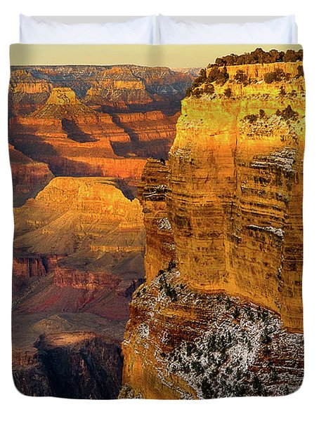 Winter Sunset At The Grand Canyon Duvet Cover