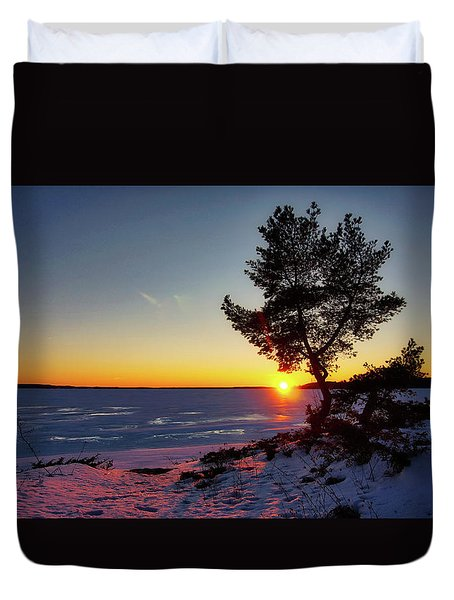 Winter Sunset Duvet Cover