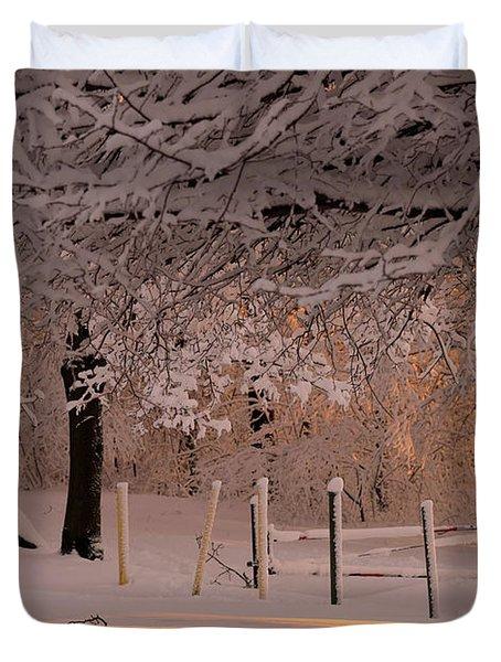 Winter Sunset Ft Hill Park Duvet Cover