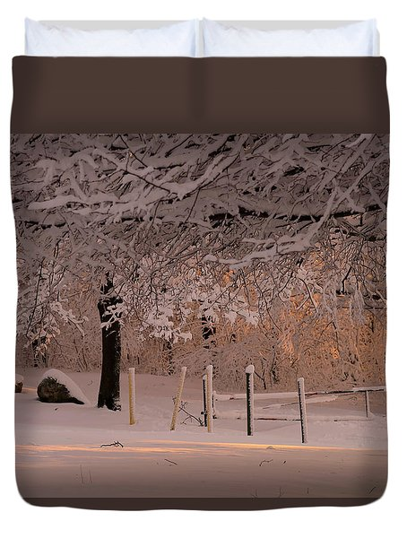 Winter Sunset Ft Hill Park Duvet Cover