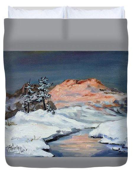 Winter Sunset In The Mountains Duvet Cover