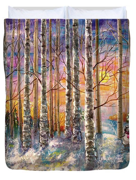 Dylan's Snowman - Winter Sunset Landscape Impressionistic Painting With Palette Knife Duvet Cover