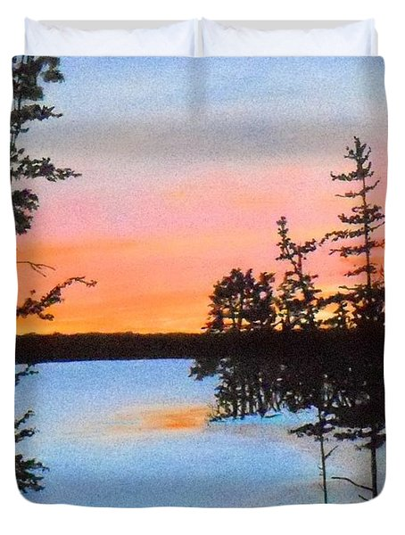 Winter Sunset Laurel Lake Lenox Ma Duvet Cover by William Tremble