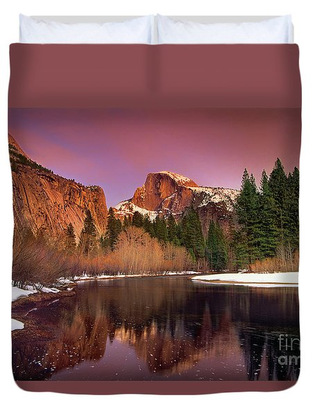 Duvet Cover featuring the photograph Winter Sunset Lights Up Half Dome Yosemite National Park by Dave Welling