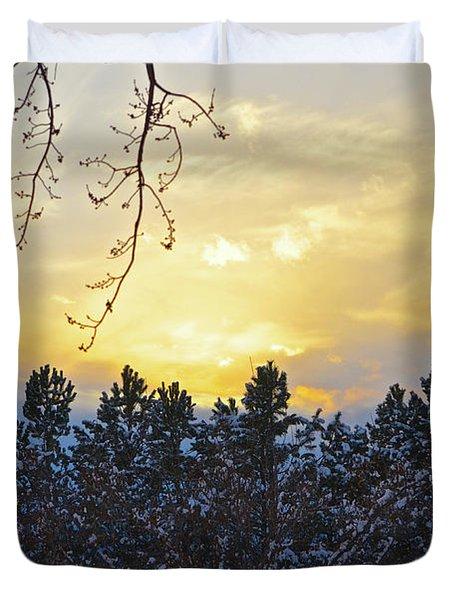 Winter Sunset On The Tree Farm #1 Duvet Cover