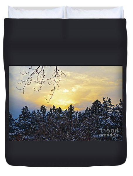 Winter Sunset On The Tree Farm #1 Duvet Cover