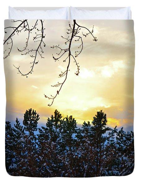 Winter Sunset On The Tree Farm #2 Duvet Cover