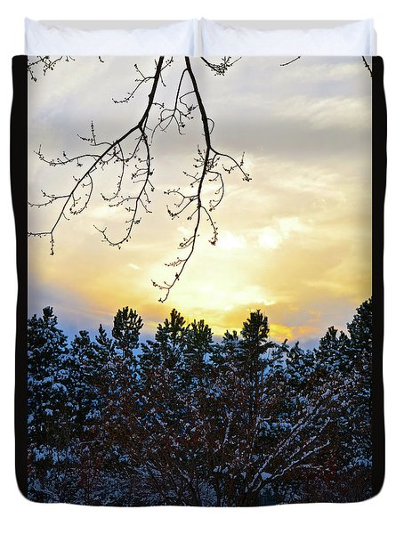 Winter Sunset On The Tree Farm #2 Duvet Cover
