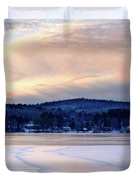 Winter Sunset On Wilson Lake In Wilton Me  -78091-78092 Duvet Cover
