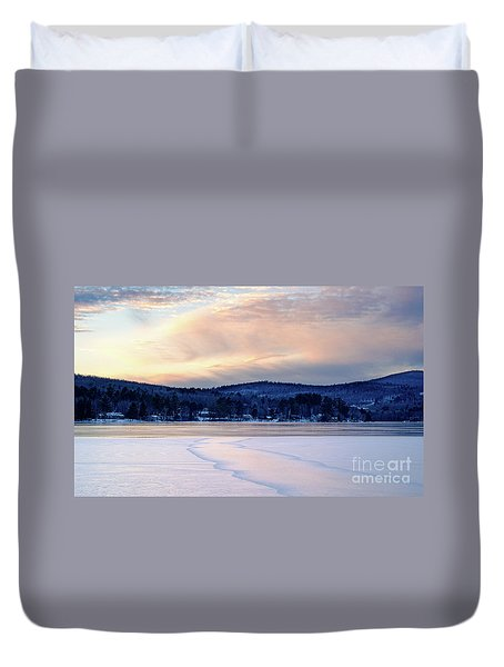 Winter Sunset On Wilson Lake In Wilton Me  -78091-78092 Duvet Cover
