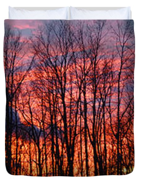 Duvet Cover featuring the photograph Winter Sunset Panorama by Francesa Miller