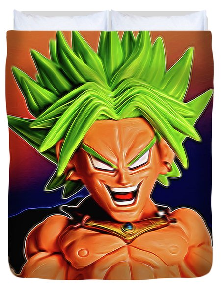 Duvet Cover featuring the digital art Sunset Ss Broly by Ray Shiu