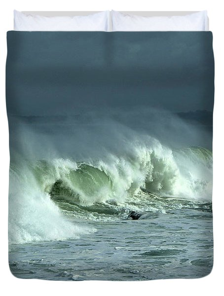 Winter Surf On Monterey Bay Duvet Cover
