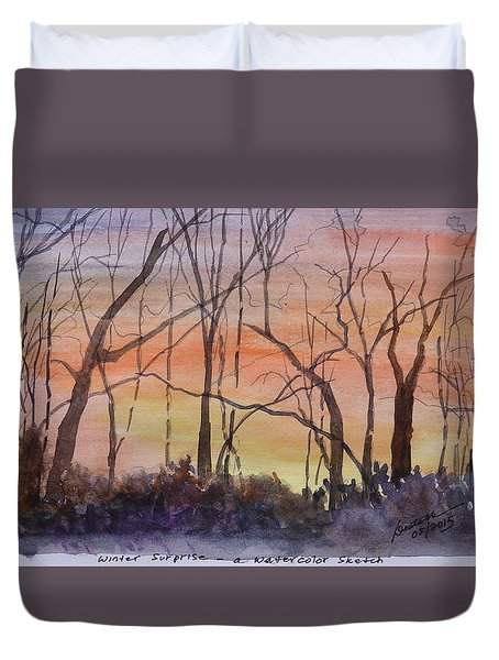 Winter Surprise -a Watercolor Sketch  Duvet Cover by Joel Deutsch