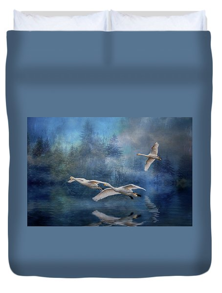 Winter Swans Duvet Cover by Brian Tarr