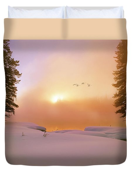 Duvet Cover featuring the photograph Winter Swans by Leland D Howard