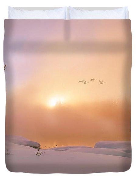 Winter Swans Duvet Cover by Leland D Howard