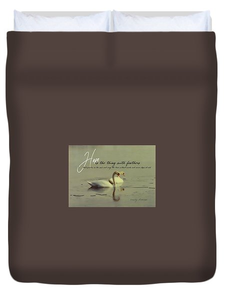 Winter Swans Quote Duvet Cover
