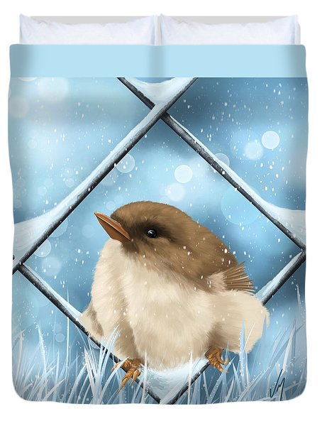 Duvet Cover featuring the painting Winter Sweetness  by Veronica Minozzi